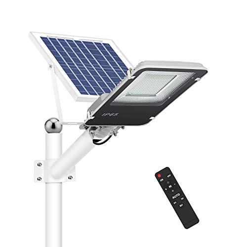 Farola Solar LED 100W para Exteriores, IP65 Impermeable Lámpara de Seguridad con Control Remoto, 1000lm Iluminación Exterior, 6500K Blanca Fría