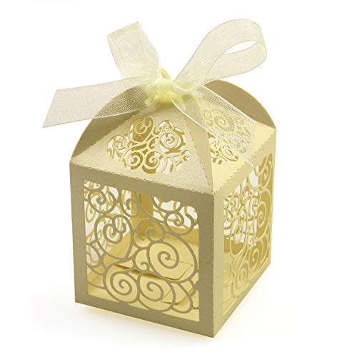 of aerwo party favors dec 2021 theres one clear winner KPOSIYA 100 Pack Wedding Favor Boxes Laser Cut Boxes Party Favor Box Small Gift Boxes Lace Candy Boxes for Wedding Bridal Shower Baby Shower Birthday Party Anniverary with Ribbons (Beige, 100)