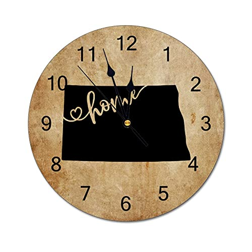North Dakota Wall Clock Map State Home State Homeland 12 Inch Wooden Wall Clock,Battery Operated,Farmhouse Wall Decor Home Decor for Kitchen,Living Room,Bedroom,Office