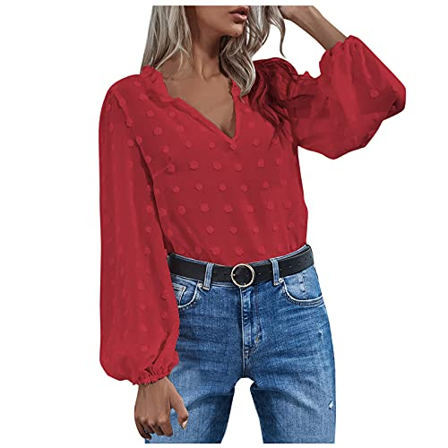 Mujer Blusa Camisa Manga Larga para Sudadera Gasa Color sólido Blusa Encaje Vintage Tops Camisa Tops Sueltos...