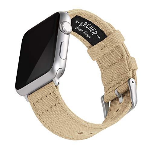 Archer Watch Straps   Cinturini Ricambio di Tela per Apple Watch, Uomini e Donne (Sabbia, Argento, 42/44mm)