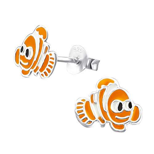 Monkimau Orecchini bambina Orecchini a forma di pesce pagliaccio in argento sterling 925