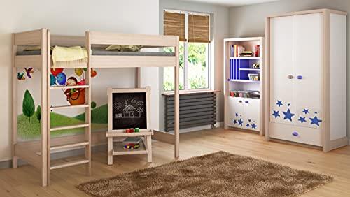 Children's Beds Home Camas Altas para niños Niños Juniors Sin colchón Incluido (160x80, Roble Claro)