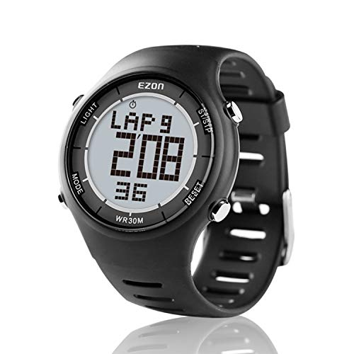 EZON Digital Sport Watch for Outdoor Running with Countdown Timer and Stopwatch Waterproof Mens Black Watch Black L008A11