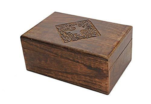 Store Indya, Land-Art-Holzschmuck Schmuckschachtel Keepsake-Speicher-Organisator mit Hand geschnitzte Keltischer Entwurf