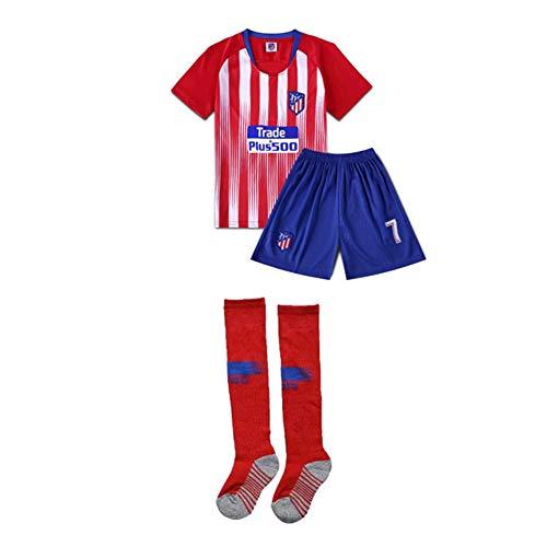PAOFU-Jungen Fußball Trikotsets Atlético Madrid Griezmann NO.7 Fußballturnier Trainingsbekleidung,Rot,18