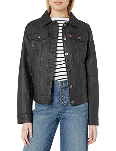 Levi's Women's Classic Faux Leather Trucker's Jacket, Black, Extra Small