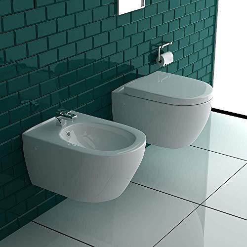 Alpenberger Spülrandloses Hänge-WC & Bidet mit Überlauf & Quick-Release D-Form WC-Sitz mit Absenkautomatik & inkl. Befestigungsmaterial | Komplett-Set | Rimless Toilette | Innovative Wasserführung