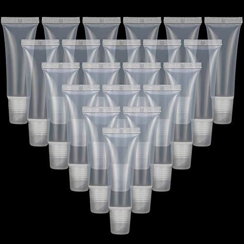 Rubywoo&chili 40 Stücke Leere Nachfüllbare Tuben Lipgloss Balm Klar Kosmetische Mini Container, Cosmetics Shampoo Cleanser Shower Gel, Body Lotion (8 ml)