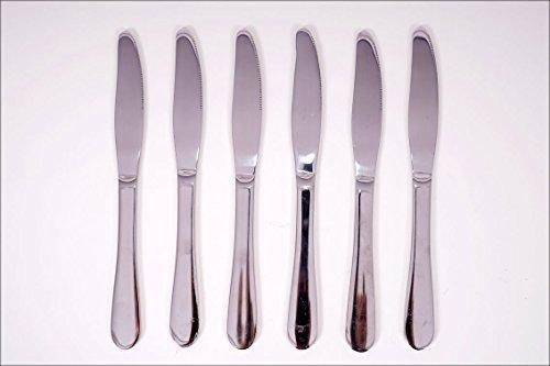 Spetebo Acier Inoxydable Lot de 6 Couverts (Couteau, Fourchette, cuillère, Fourchette, gâteaux, Cuillères à Café) – QUALITÉ Haut, Acier Inoxydable, Messer 6-teilig