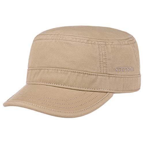 Stetson Stetson Gosper Army Cap Damen/Herren - Urban Armycap aus Baumwolle - Militärcap mit UV-Schutz 40 - Mütze Militär Sommer/Winter Dunkelbeige L (58-59 cm)