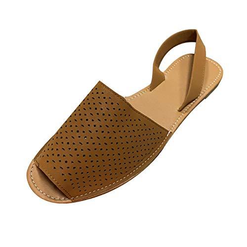 Damen Sandalen Bequeme Flache Beach Strandsandale Slingback Peep Toe Sommer Outdoor Sandals Freizeitschuhe(5-Braun/Brown,39)