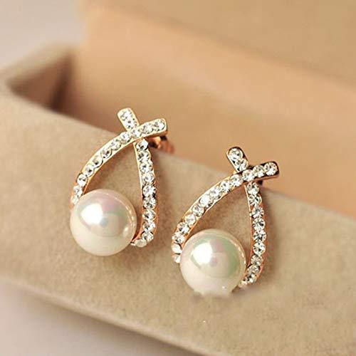 Pendientes para mujer, 1 par de pendientes elegantes con diamantes de imitación de cristal