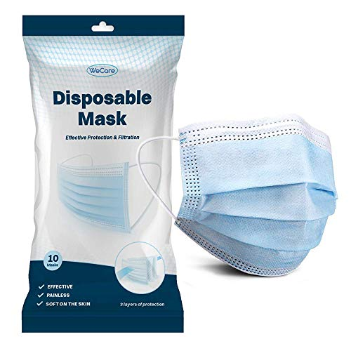 WeCare Disposable 3 Ply Face Masks - 10 Pack - 3 Layer Protectors - Latex Free