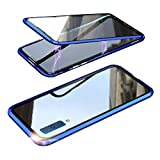 Galaxy A7 ケース/カバー A750/SM-A750C アルミバンパー クリア 透明 両面 前後 ガラス マグネット かっこいい アルミサイドバンパー サムスン ギャラクシー A7 2018/2019 落下防止 強化ガラス メタルケース マグネットバンパー(ブルー)