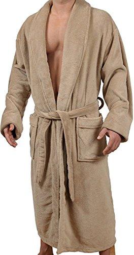 Wanted Herren-Kimono-Bademantel aus weichem Fleece mit Schalkragen - Beige - Small/Medium
