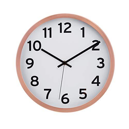 AmazonBasics - Orologio da parete, con numeri, 30,5 cm, rame