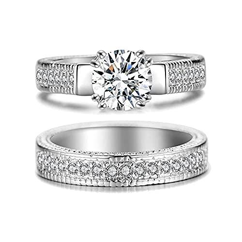 Younoo1 - 2 anillos de pareja de plata para parejas, unisex, anillo de compromiso de diamante en forma de geometría, joyas para boda