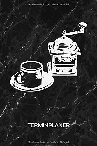 TERMINPLANER: Kaffeetrinker Kalender Mo. bis So. - Vintage Terminkalender - Kaffeemaschine von früher Wochenplaner Cappuccino Taschenkalender für To-Do Liste & Termine - Kaffemühle Espresso Motiv