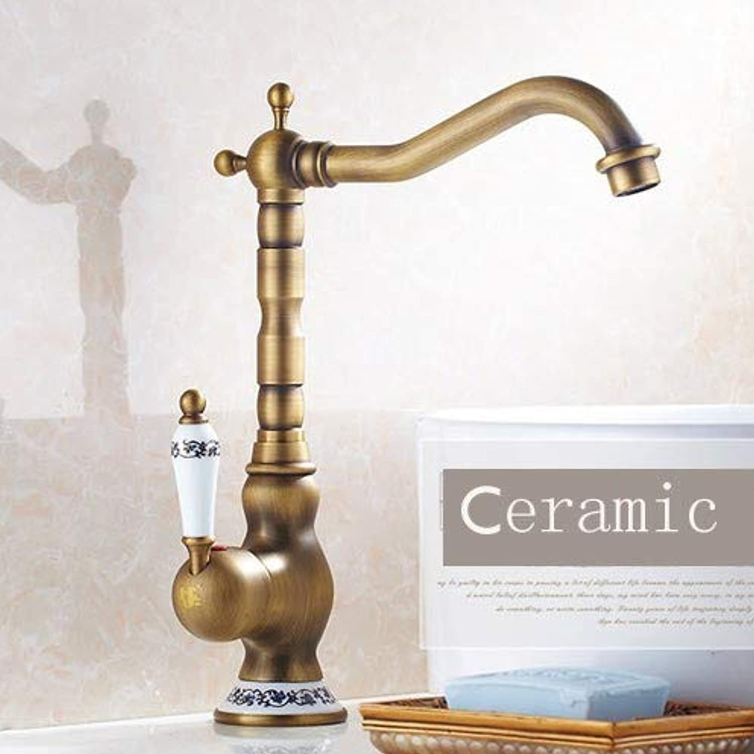 Antique Single Lever Mixer Tap for Kitchen Bathroom Brass Ceramic Cartridge Pivoting Pipe Spout Tap Single Hole Inssizetion 360° Swivelling