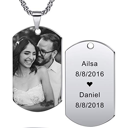 MeMeDIY Personalized Dog Tag Pendant Necklace Engraving Text/Black & White Picture for Men Women Memorial Stainless Steel Jewelry Bundle with Adjustable Chain, Keychain, Silencer (Silver Color)