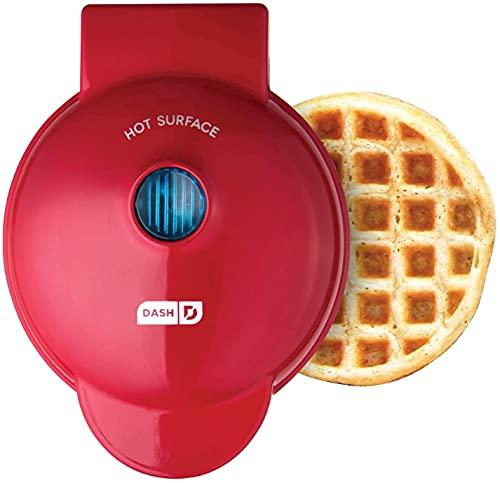 Dash DMW001RD Máquina para uso individual, Paninis, Hash Browns e outras mini máquinas de waffle, 10 cm, vermelho pacote com 1