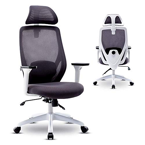Bonzy Home Ergonomic Office Chair,High Back Mesh Computer Chair with Lumbar Support and Rollerblade Wheels Adjustable Armrest, and Headrest,Home Office Chair with Tilt Function and Position Lock,White