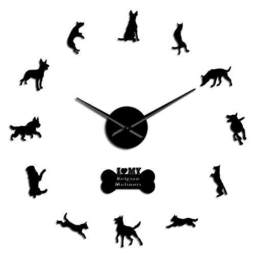 HIDFQY Belgischer Schäferhund 3D Uhr K9 Sicherheitshund Belgischer Malinois Große DIY Wanduhr Tier Silhouette Acryl Spiegel Aufkleber China Schwarz