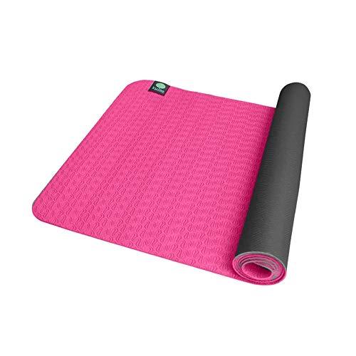kulae 5mm ECOmat Yoga Mat - Eco-Friendly, Reversible, Lightweight, Non-Slip, 72'x24' (Pink/Slate)
