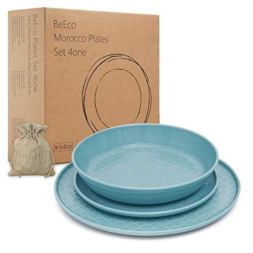 BeEco Marruecos Platos Menta | Hecho a mano | Producto ecológico | Juego de 3 para 1 persona | Plato de cena + plato lateral + tazón de sopa | Gran idea de regalo | 100% reciclable