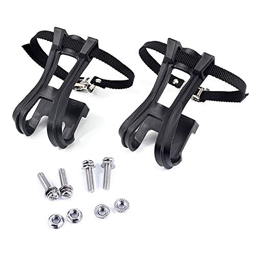 Esnow 1 Pair Toe Clips with Strap Belts Cycling MTB