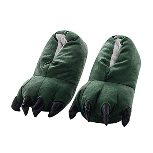DEBAIJIA Unisex Plüsch Hausschuhe Monster Kralle Tier Pfote Pantoffel Kuscheltier Schlappen Warme Weiches Cosplay Kostüme Party Karneval für Herren Damen Kinder Herbst Winter Indoor Grün 35-40