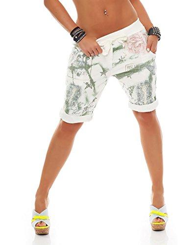 ZARMEXX Fashion Zarmexx Damen Bermuda Shorts Baggy Hose Boyfriend Freizeithose Kurze Hose mit Blumendruck Baumwolle One Size (grün)