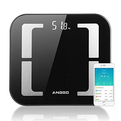 Báscula de grasa corporal ANGGO, báscula personal Bluetooth Báscula digital inteligente con la báscula de análisis corporal APP BMI para peso, masa muscular, agua