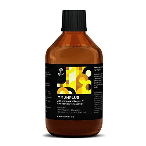 Vinplus Liposomales Vitamin C mit Sanddorn - Hochdosiert zum Immunsystem stärken - 1000 mg flüssig verkapselt - 250ml - Vegan ohne Alkohol mit Saft genießen