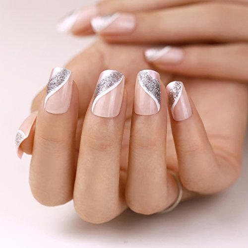 ArtPlus Faux Ongles 24pcs x 4 (4-Pack) Silver Pink Elegant Touch False Nails with Glue Full Cover Long Length 4 Boxes in 1 Premium Pack Buy 3 Get 1 Free Fake Nails Art