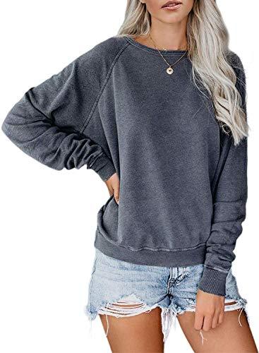 LAMISSCHE Womens Crewneck Long Sleeve Sweatshirt Casual Solid Pullover Lightweight Tops(Grey,2XL)