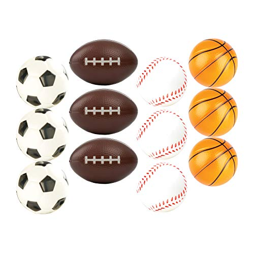 12 Sports Themed 2.5' Stress Balls Squeeze Balls Foam for Stress Relief, Relaxation, Party Favor...