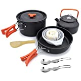 Kit De Acampar De Cocinar,11 Piezas para 2-3 Personas con vajilla de Tetera,Al Aire Libre Ollas Y Sartenes De Cocina para Picnics BBQ Senderismo Mochilero