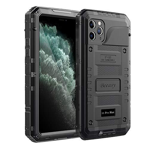 Beeasy Funda para iPhone 11 Pro MAX Impermeable,Antigolpes con Protector de Pantalla,360°Protección Rígida Robusta Antigravedad Carcasa Resistente al Impacto Militar Duradera Blindada Fuerte, Negro