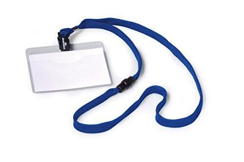 Durable 813907 Namensschild (mit Textilband 10, 60 x 90 mm, Bandlänge 44 cm) Packung à 10 Stück blau
