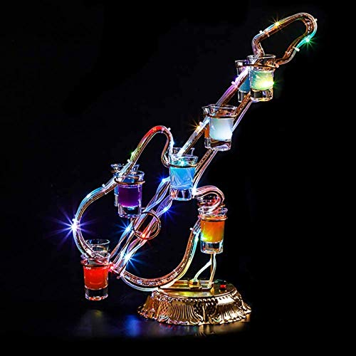 Elegante Botellero, Estante del vino de la botella elegante soporte de exhibición Estante de almacenamiento  Estilo moderno en forma de violín de la novedad del estante de la botella  LED Efectos de l