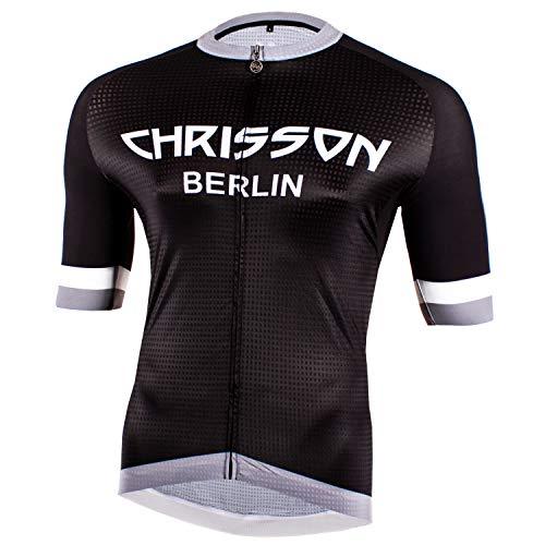 CHRISSON Urban Grau L Fahrradtrikot Kurzarm für Herren, Atmungsaktive und Schnelltrocknende Fahrradbekleidung, Radtrikot mit Reißverschluss, Fahrrad Trikot für Männer mit 3 großen Rückentaschen