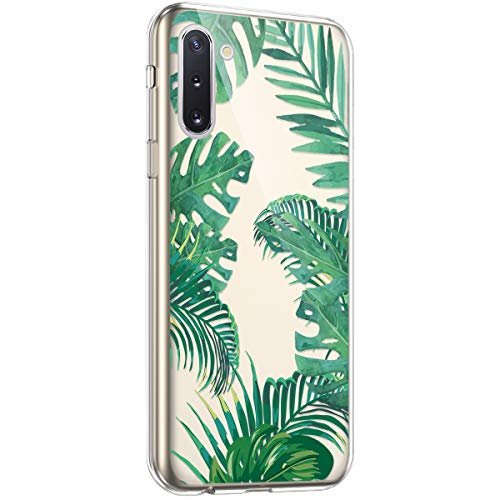 Coque pour Samsung Galaxy Note 10 Étui Silicone Transparente,Surakey Motif Feuille verte [Ultra Mince] Souple TPU Housse Étui Protection TPU Bumper Silicone Etui pour Galaxy Note 10