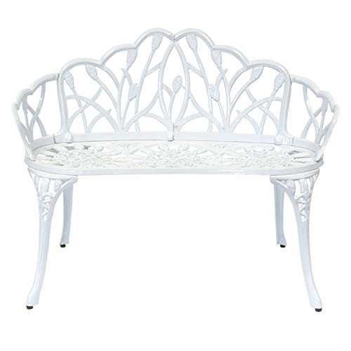 Charles Bentley Banc 2 Places en Aluminium moulé Jardin/Patio - Motif Tulipes - Blanc