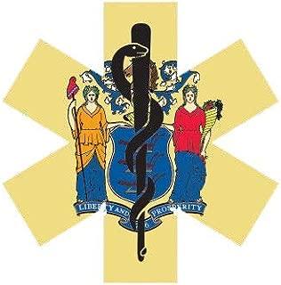 ION Graphics New Jersey State Shaped EMT Flag Sticker Die Cut Vinyl EMS Paramedic NJ 5