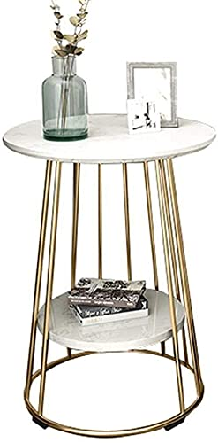 WSHFHDLC coffee table End Tables Small Coffee Table with Storage Shelves Round Side Table End Table Lamp Table for Home Bedroom Living Room White Marble/gold Legs small coffee tables (Size : #2)