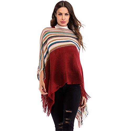 Beiersi Damen Poncho Cape Überwurf Strickjacke Fransen Unregelmäßige Schal Cape Strick Pullover Herbst Winter One Size (Weinrot)