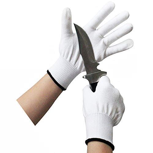 ThreeH Schnittfeste Handschuhe Weiße Handschuhe HPPE und 316L Küchenhandschuhe für Fischfilet Mandolinenschneiden Fleischschneiden Austernschälen GL20 L