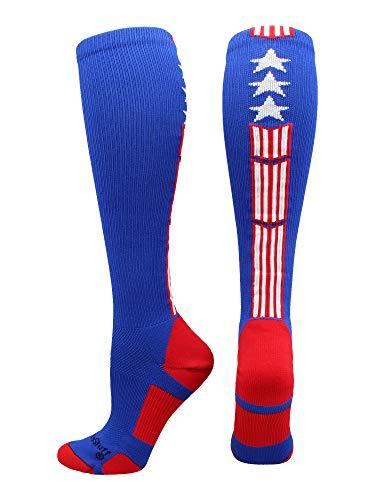 Patriot diseño de estrellas y rayas sobre la pantorrilla calcetines